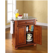 Alexandria Solid Granite Top Portable Kitchen Island in Classic Cherry Finish, 28-1/4'' W x 18'' D x 36''H