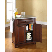 Alexandria Solid Granite Top Portable Kitchen Island in Vintage Mahogany Finish, 28-1/4'' W x 18'' D x 36''H