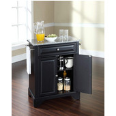 LaFayette Solid Granite Top Portable Kitchen Island in Black Finish, 31'' W x 18'' D x 36'' H