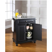 Cambridge Solid Granite Top Portable Kitchen Island in Black Finish, 28-1/4'' W x 18'' D x 36''H