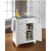 Cambridge Solid Granite Top Portable Kitchen Island in White Finish, 28-1/4'' W x 18'' D x 36''H