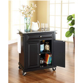 Solid Granite Top Portable Kitchen Cart/Island in Black Finish, 28-1/4'' W x 18'' D x 36''H