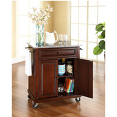 Solid Granite Top Portable Kitchen Cart/Island in Vintage Mahogany Finish, 28-1/4'' W x 18'' D x 36''H