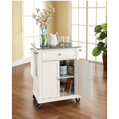 Solid Granite Top Portable Kitchen Cart/Island in White Finish, 28-1/4'' W x 18'' D x 36''H