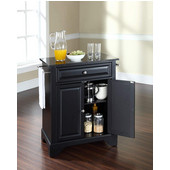 LaFayette Solid Black Granite Top Portable Kitchen Island in Black Finish, 28-1/4'' W x 18'' D x 36''H