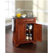 LaFayette Solid Black Granite Top Portable Kitchen Island in Classic Cherry Finish, 28-1/4'' W x 18'' D x 36''H
