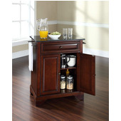 LaFayette Solid Black Granite Top Portable Kitchen Island in Vintage Mahogany Finish, 28-1/4'' W x 18'' D x 36''H