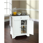 LaFayette Solid Black Granite Top Portable Kitchen Island in White Finish, 28-1/4'' W x 18'' D x 36''H