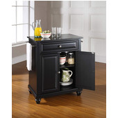 Cambridge Solid Black Granite Top Portable Kitchen Island in Black Finish, 28-1/4'' W x 18'' D x 36''H