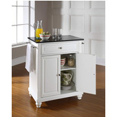 Cambridge Solid Black Granite Top Portable Kitchen Island in White Finish, 28-1/4'' W x 18'' D x 36''H