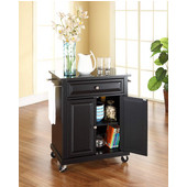 Solid Black Granite Top Portable Kitchen Cart/Island in Black Finish, 31'' W x 18'' D x 36''H