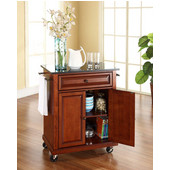 Solid Black Granite Top Portable Kitchen Cart/Island in Classic Cherry Finish, 31'' W x 18'' D x 36''H