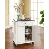 Solid Black Granite Top Portable Kitchen Cart/Island in White Finish, 31'' W x 18'' D x 36''H