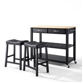 Natural Wood Top Kitchen Cart/Island in Black Finish With 24'' Black Upholstered Saddle Stools