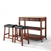 Natural Wood Top Kitchen Cart/Island in Classic Cherry Finish With 24'' Cherry Upholstered Saddle Stools