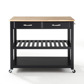 Natural Wood Top Kitchen Cart/Island, Black Finish, 43'' W x 18'' D x 35'' H