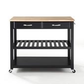 Natural Wood Top Kitchen Cart/Island, Black Finish, 43'' W x 18'' D x 35'' H