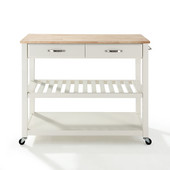 Natural Wood Top Kitchen Cart/Island With Optional Stool Storage, White, 43'' W x 18'' D x 35'' H