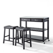 Stainless Steel Top Kitchen Cart/Island in Black Finish With 24'' Black Upholstered Saddle Stools