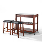 Stainless Steel Top Kitchen Cart/Island in Classic Cherry Finish With 24'' Cherry Upholstered Saddle Stools
