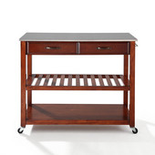 Stainless Steel Top Kitchen Cart/Island With Optional Stool Storage, Cherry Finish, 43'' W x 18'' D x 35'' H