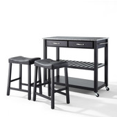 Solid Granite Top Kitchen Cart/Island in Black Finish With 24'' Black Upholstered Saddle Stools