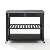 Solid Granite Top Kitchen Cart/Island, Black Finish, 43'' W x 18'' D x 35'' H