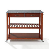 Solid Granite Top Kitchen Cart/Island With Optional Stool Storage, Cherry Finish, 43'' W x 18'' D x 35'' H