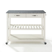 Solid Granite Top Kitchen Cart/Island With Optional Stool Storage, White, 43'' W x 18'' D x 35'' H