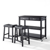Solid Black Granite Top Kitchen Cart/Island in Black Finish With 24'' Black Upholstered Saddle Stools
