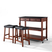 Solid Black Granite Top Kitchen Cart/Island in Classic Cherry Finish With 24'' Cherry Upholstered Saddle Stools