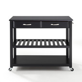 Solid Black Granite Top Kitchen Cart/Island, Black Finish, 43'' W x 18'' D x 35'' H