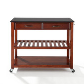 Solid Black Granite Top Kitchen Cart/Island With Optional Stool Storage, Cherry Finish, 43'' W x 18'' D x 35'' H