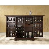 Alexandria Expandable Bar Cabinet in Vintage Mahogany Finish