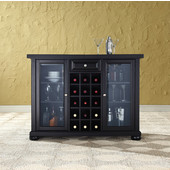Alexandria Sliding Top Bar Cabinet in Black Finish