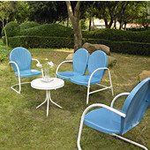 Griffith 4 Piece Metal Outdoor Conversation Seating Set - Loveseat & 2 Chairs in Sky Blue Finish with Side Table in White Finish