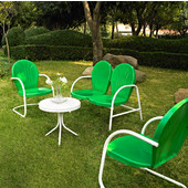 Griffith 4 Piece Metal Outdoor Conversation Seating Set - Loveseat & 2 Chairs in Grasshopper Green Finish with Side Table in White Finish