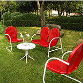 Griffith 4 Piece Metal Outdoor Conversation Seating Set - Loveseat & 2 Chairs in Red Finish with Side Table in White Finish