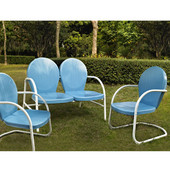 Griffith 3 Piece Metal Outdoor Conversation Seating Set - Loveseat & 2 Chairs in Sky Blue Finish