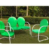 Griffith 3 Piece Metal Outdoor Conversation Seating Set - Loveseat & 2 Chairs in Grasshopper Green Finish