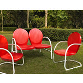 Griffith 3 Piece Metal Outdoor Conversation Seating Set - Loveseat & 2 Chairs in Red Finish