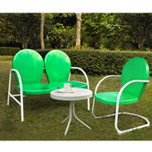 Griffith 3 Piece Metal Outdoor Conversation Seating Set - Loveseat & Chair in Grasshopper Green Finish with Side Table in White Finish