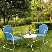 Griffith 3 Piece Metal Outdoor Conversation Seating Set - Two Chairs in Sky Blue Finish with Side Table in White Finish