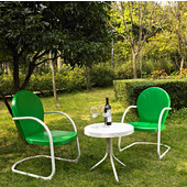 Griffith 3 Piece Metal Outdoor Conversation Seating Set - Two Chairs in Grasshopper Green Finish with Side Table in White Finish