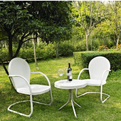 Griffith 3 Piece Metal Outdoor Conversation Seating Set - Two Chairs in White Finish with Side Table in White Finish