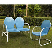 Griffith 2 Piece Metal Outdoor Conversation Seating Set - Loveseat & Chair in Sky Blue Finish