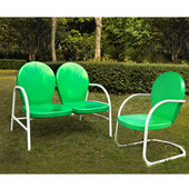 Griffith 2 Piece Metal Outdoor Conversation Seating Set - Loveseat & Chair in Grasshopper Green Finish