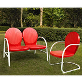 Griffith 2 Piece Metal Outdoor Conversation Seating Set - Loveseat & Chair in Red Finish