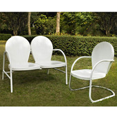 Griffith 2 Piece Metal Outdoor Conversation Seating Set - Loveseat & Chair in White Finish