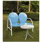 Griffith 2 Piece Metal Outdoor Conversation Seating Set - Loveseat & Table in Sky Blue Finish